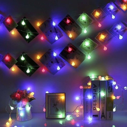 14.8ft 40LEDs Multicolor Globe String Lights Battery Operated, GreenClick Waterproof 8 Modes Decorative Fairy String Lights for Indoor and Outdoor...