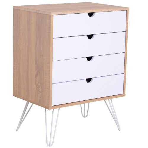 HOMCOM Wooden Bedside Table Night Stand Lamp Desk 4 Storage Drawers with Metal Legs Scandinavian Nordic Retro Style Bedroom Furniture
