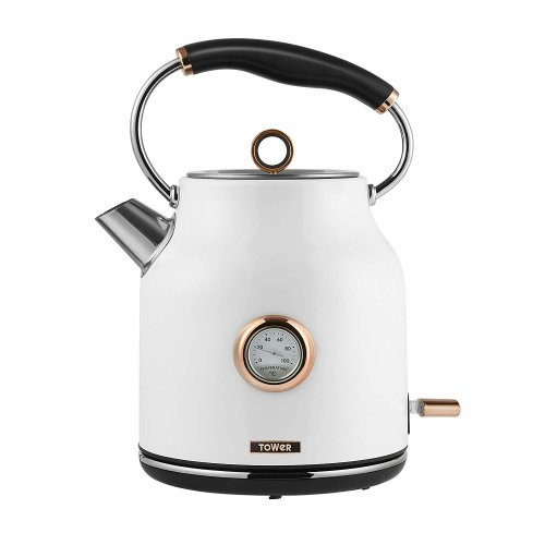 Tower Bottega T10020W Rapid Boil Traditional Kettle, Stainless Steel, 3000 W, 1.7 Litre, White and Rose Gold