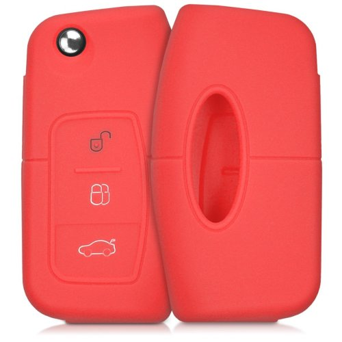 kwmobile Ford Car Key Cover - Silicone Protective Key Fob Cover for Ford 3 Button Car Flip Key - Red
