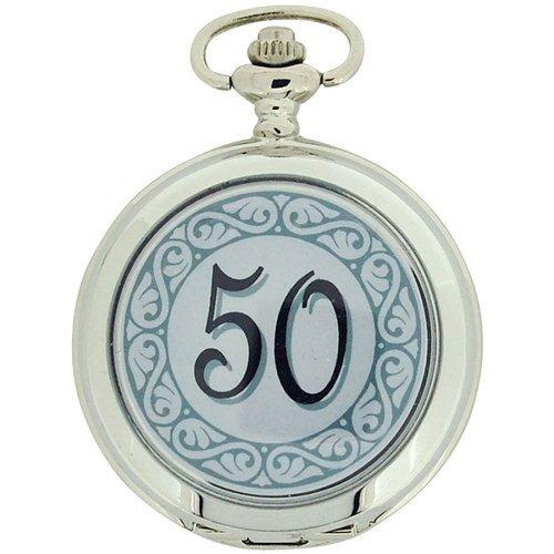 "Boxx ""Happy 50th Birthday"" White Dial Gents Pocket Watch 12 Inch Chain Boxx315"