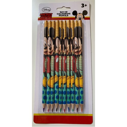 MICKEY MOUSE Set of 10 x Colouring Pencils