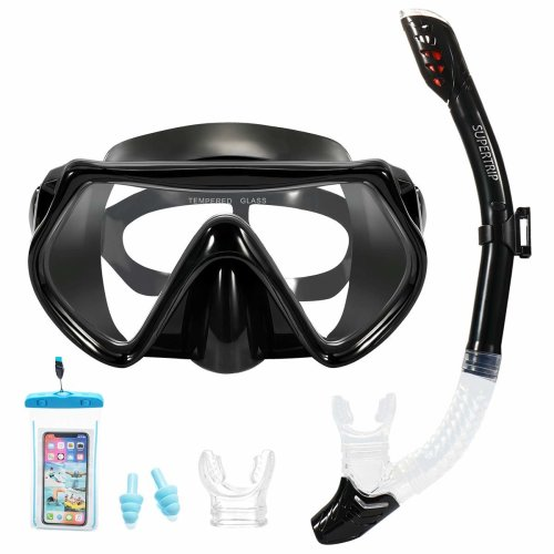 Supertrip Snorkel Set-Snorkeling Mask Diving Goggles Mask Dry Snorkel Set with 2 Mouthpieces 1 Waterproof Phone Pouch and 2 Earplugs for Adults and...
