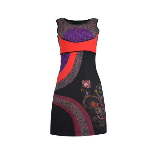 TATTOPANI Ladies multicolored Sleeveless Dress With Floral Pattern Print and Embroidery Work.