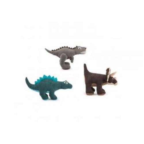 Jurassic Bark Soft Toys Mixed Triceratop T-rex Stegasaurus (Pack of 3)