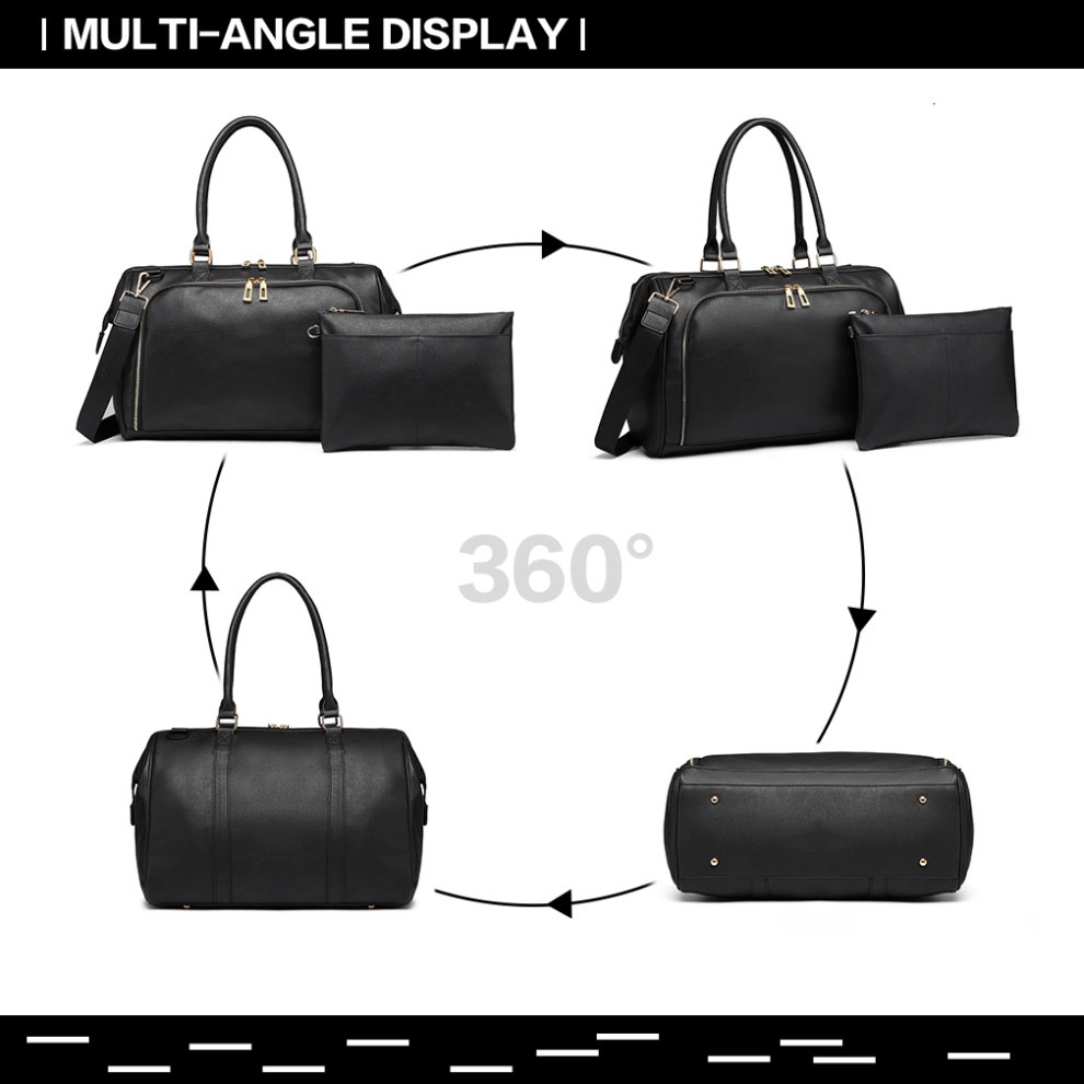f6dbdffcab810 ... Miss Lulu 3 Pieces Baby Nappy Diaper Changing Bag PU Leather Black - 1  ...
