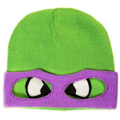 Teenage Mutant Ninja TURTLE Donnie Face and Mask Cuffless Beanie - Green/Purple