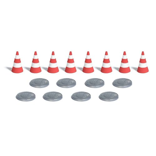 8 traffic cones and 8 manhole covers - OO/HO scenery Busch 7788 - free post
