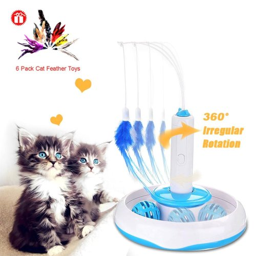 CreaTion® Electronic Motion Cat Toy Electric Rotate Best Interactive Cat Feather Toys Teaser Motion Kitten Toys Cat Toy Electric Rotate Plus...