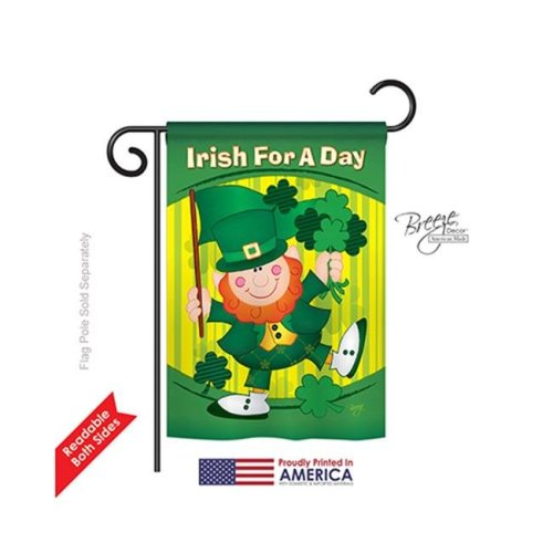 Breeze Decor 52025 St Pats Irish For A Day 2-Sided Impression Garden Flag - 13 x 18.5 in.