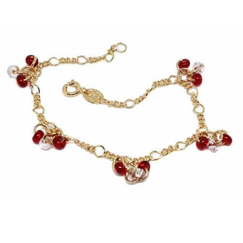 9ct Gold-Filled Figaro Link Bracelet | Beaded Chain Link Bracelet
