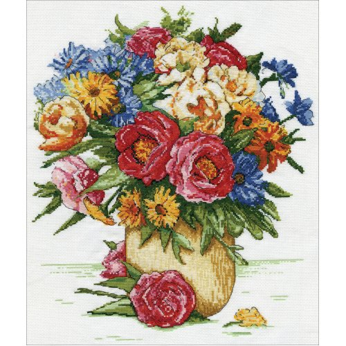 """Design Works Counted Cross Stitch Kit 14""""X16""""-Majestic Floral (14 Count)"""