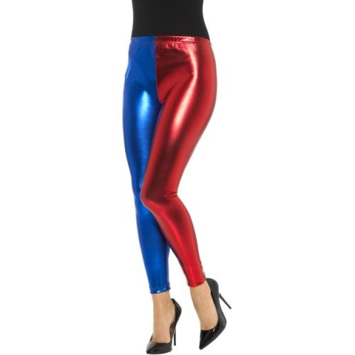 Smiffy's 48108l Metallic Harlequin Cosplay Legging (large) -  harlequin metallic leggings fancy dress ladies adult harley outfit cosplay women womens