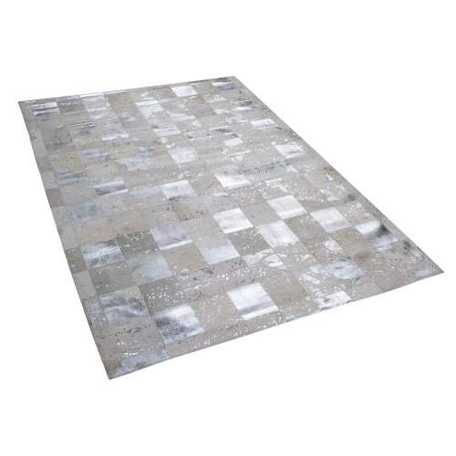 Cowhide Area Rug 160 x 230 cm Beige and Silver YAZIR
