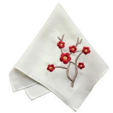 One White Elegant And Retro Red Plum Flower Embroidered Handkerchief