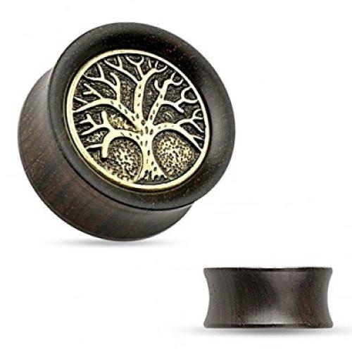 Tree Of Life Inprinted Organic Ebony Wood Flesh Tunnel Ear Saddle Plug Piercing Jewelllery