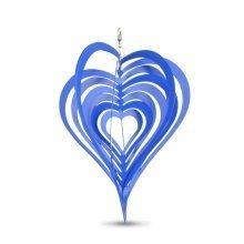 Blue Heart Shaped Steel Garden Windspinner