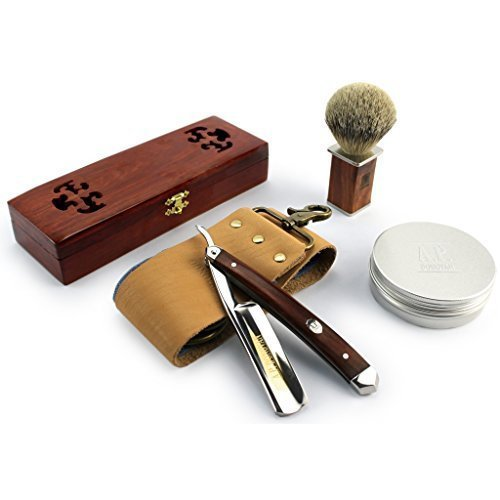 A.P. Donovan - Excellent 78  Straight razor Set - cut throat incl. Brush, shaving soap, Strop (blade is not stainless) - Mahogany