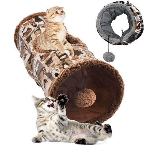 Collapsible Super Soft Cat Play Tunnel with Pom Pom Toy