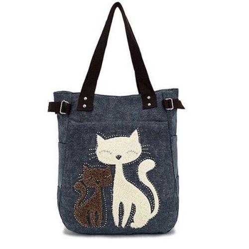 Women Canvas Handbag Cute Cat Shoulder Bag Totes