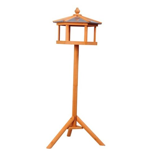 PawHut Deluxe Bird Stand Feeder Table Feeding Station Wooden 113cm High