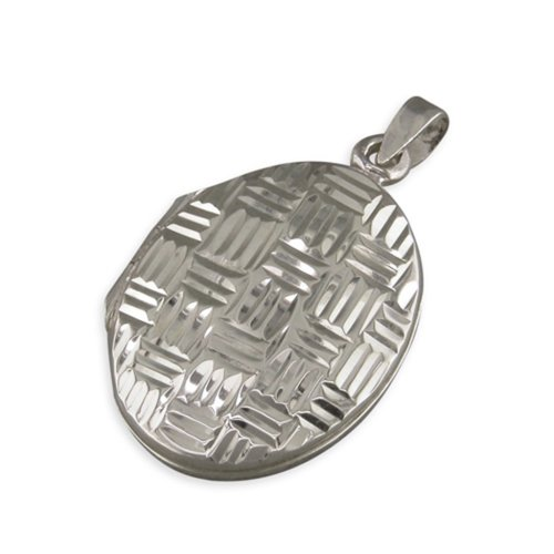 Childrens Sterling Silver Diamond Cut Cross-Hatched Oval Locket On A Curb Necklace