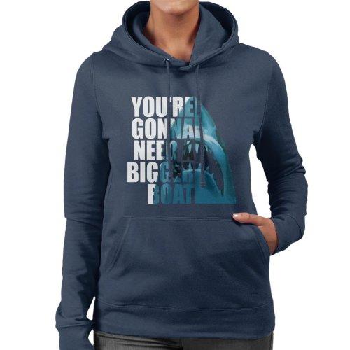 Jaws Half Head Text Women's Hooded Sweatshirt