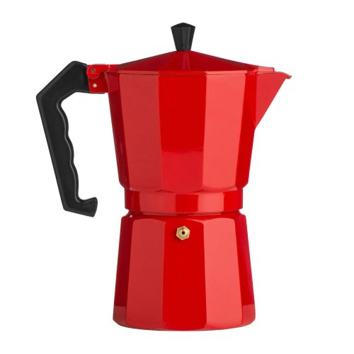 9 Cup Espresso Maker, Aluminium - Red