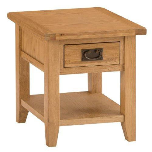 Rustic Oak 1 Drawer Large Lamp Table