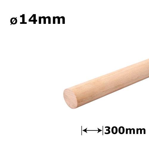 Beech Dowel Smooth Wood Rod Pegs - 300mm length, 14mm diameter