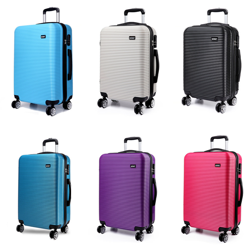 1e7c9d9a0 KONO Suitcase Luggage Travel Trolley Case Bag Hard Shell PC 4 Wheels  Spinner 20 Inch Stripe Shape on OnBuy