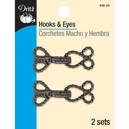 Dritz Hooks & Eyes - Ropes 2/Pkg-Gunmetal