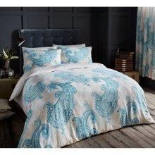 Paisley Crescent cream/teal duvet cover bedding set