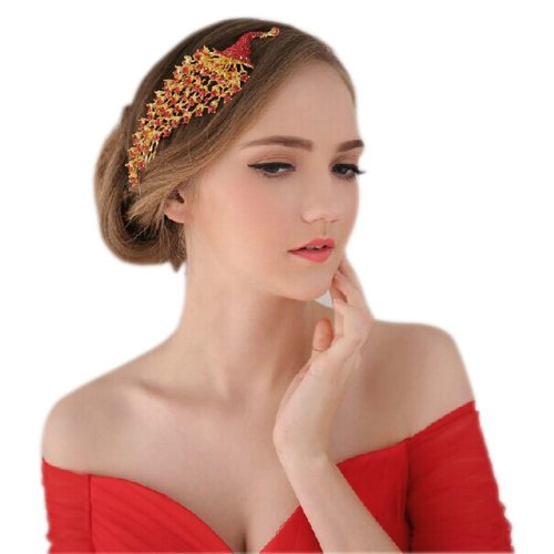 Chinese Bride Retro Red Phoenix Hair Accessories Combs