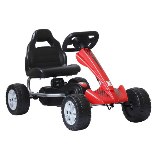 HOMCOM Kids Children Pedal Go Kart Manual Racing Rider Ride On Car Toy Scooter Age 3-8 Years Black & Red