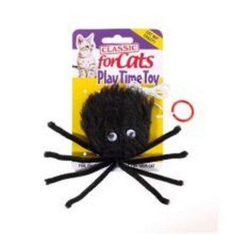 Classic Black Furry Spider Cat Toy