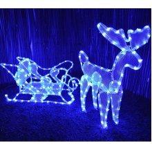 Reindeer & Sleigh Christmas Garden Decoration Large Blue LED Rope Light Display