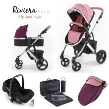 Tutti Bambini Riviera Plus 3 in 1 Chrome Travel System - Dusty Pink/plum