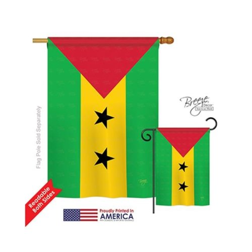 Breeze Decor 08314 Sao Tome & Principe 2-Sided Vertical Impression House Flag - 28 x 40 in.