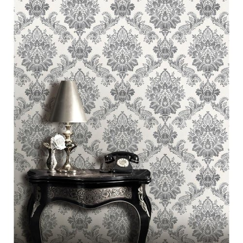 NEW RASCH BLOOMSBURY DAMASK PATTERN FLORAL MOTIF TRADITIONAL METALLIC WALLPAPER[CHARCOAL 204834]