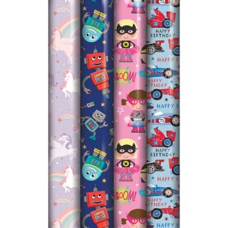 Eurowrap Assorted Cartoon Gift Wrap Roll (Pack Of 39)