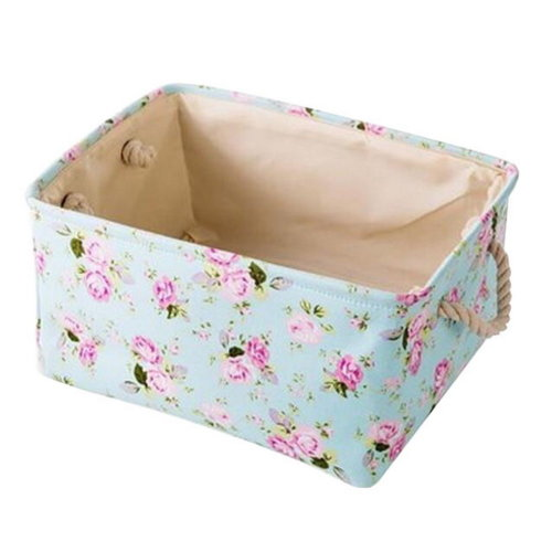 41x31x19 cm, Floral Linen Storage Basket Useful Household Storage Containers