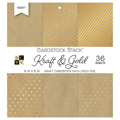 "DCWV Single-Sided Cardstock Stack 6""X6"" 36/Pkg-Kraft & Gold W/Gold Foil, 6 Designs"