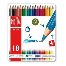 Tin Of 18 Coloured Pencils -  caran dache fancolor water soluble pencils set 18 tin