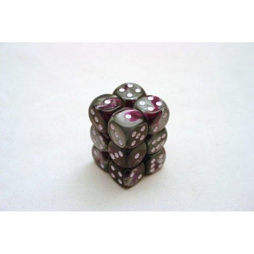 Chessex Gemini 16mm D6 x 12 - Purple-Steel/white
