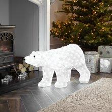 Kaemingk Everlands - 80cm Mains Operated Indoor & Outdoor Acrylic Polar Bear Christmas Figure - 270 Cool White LED Lights