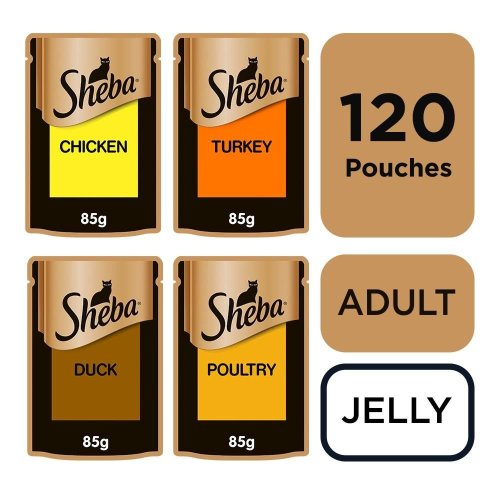 Sheba Fine Flakes Adult Cat Food Pouches Poultry Collection In Jelly 120 x 85g