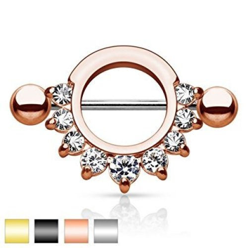 Multi Pronged Crystal Cluster Half Circle Nipple Bar