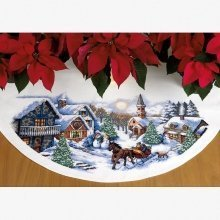 D70-08830 - Dimensions Counted X Stitch - Tree Skirt: Sleigh Ride