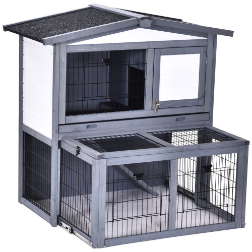 PawHut Wooden 2 Main House Rabbit Hutch w/ Run, Open Roof Small Animal Cage